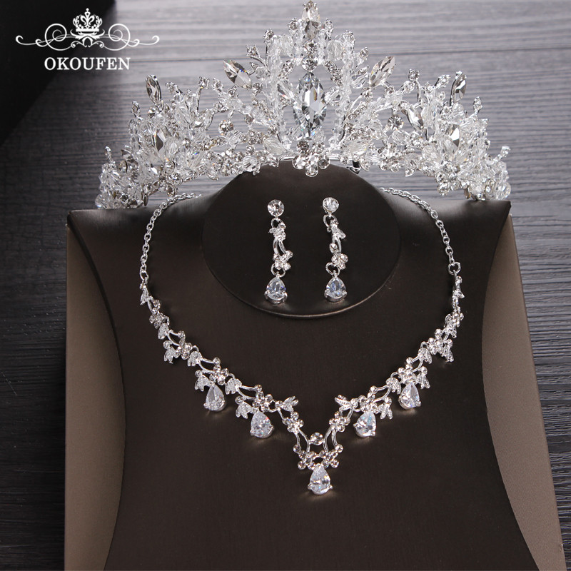 OKOKFEN Luxury Rhinestone Jewelry Sets Necklace Pendant Tiaras Earrings For Women Pageant Wedding Crowns Bridal Hair Accessories