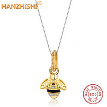 2019 Spring Collection 925 Sterling Silver Lovely Bee Animal Pendants Necklace for Women Fashion Jewelry Making Berloque Gifts недорого