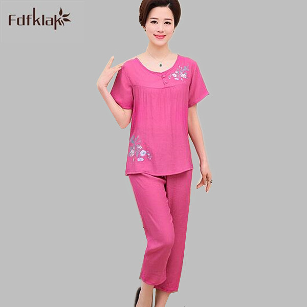 Summer   pajamas   plus size casual women   pajama     set   short sleeve cotton pijamas suit ladies sleepwear pyjamas home clothes A794