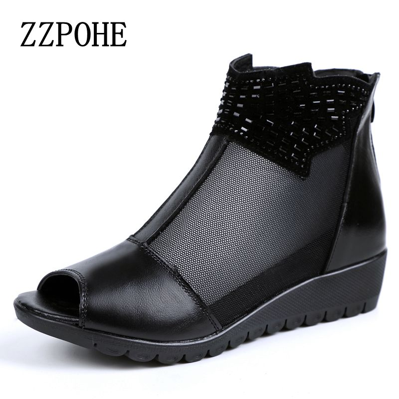 ZZPOHE Leather slope with ladies sandals comfortable sexy diamond black woman shoes mother leisure shoes карабин black diamond black diamond rocklock twistlock