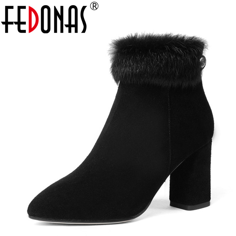 FEDONAS Top Quality Fashion Women Autumn Winter Genuine Leather Rabbit Fur Ankle Boots Women Elegant Warm Snow Boots Shoes Woman
