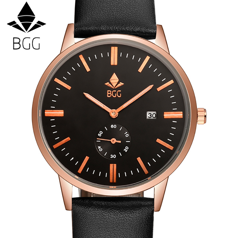 BGG Оригинальный Бренд кожаный Ремешок Часы Мужчин Случайные Путешествия наручные часы Календарь Мужчин спортивные Часы мужской Бизнес часы часов