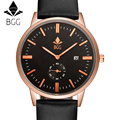 BGG Original Brand genuine Leather Band Watch Men Casual Travel wristwatch Calendar Men's sports Watch male Business clock hours