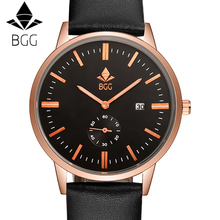 BGG Original Brand genuine Leather Band Watch Men Casual Travel wristwatch Calendar Men's sports Watch male Business clock hours