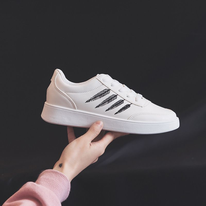 2018 Respirant Dames Femme Blanc Mujer Vulcanisé Femmes Noir Zapatos Chaussures Feuilles Femal argent Casual Mode Dentelle Appartements Sneakers or up BrvqYBw