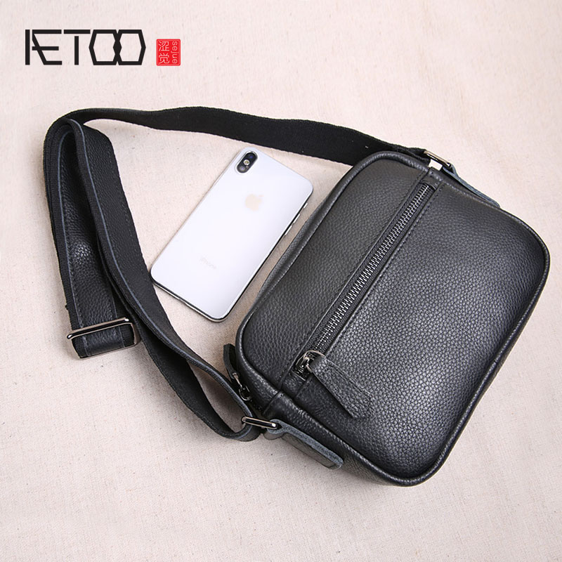 AETOO Original mini leather men s bag top layer leather men s small bag casual youth