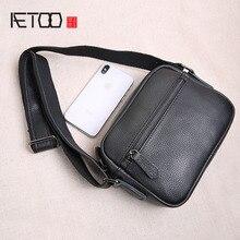 AETOO Original mini leather mens bag top layer leather mens small bag casual youth shoulder bag Messenger bag vintage