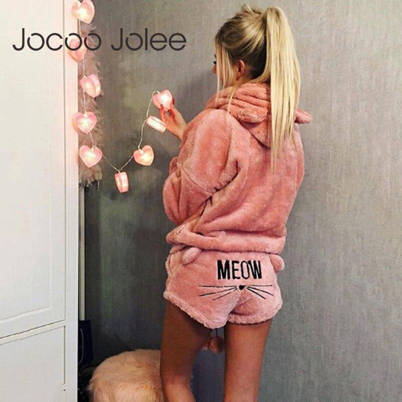 Jocoo Jolee kadın mercan kadife pijama seti sonbahar kış sıcak 2 adet Set pijama sevimli kedi miyav desen Hoodies şort takımı 5XL