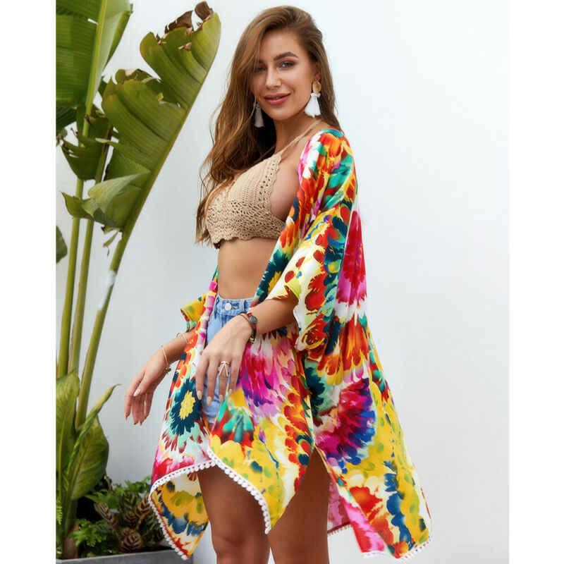 ดอกไม้ขนาดใหญ่ ups ใหม่ 2019 ผู้หญิงฤดูร้อนชุดว่ายน้ำชุดว่ายน้ำชุดว่ายน้ำบิกินี่ Cover Up ชุดชายหาด Sarong Pareo