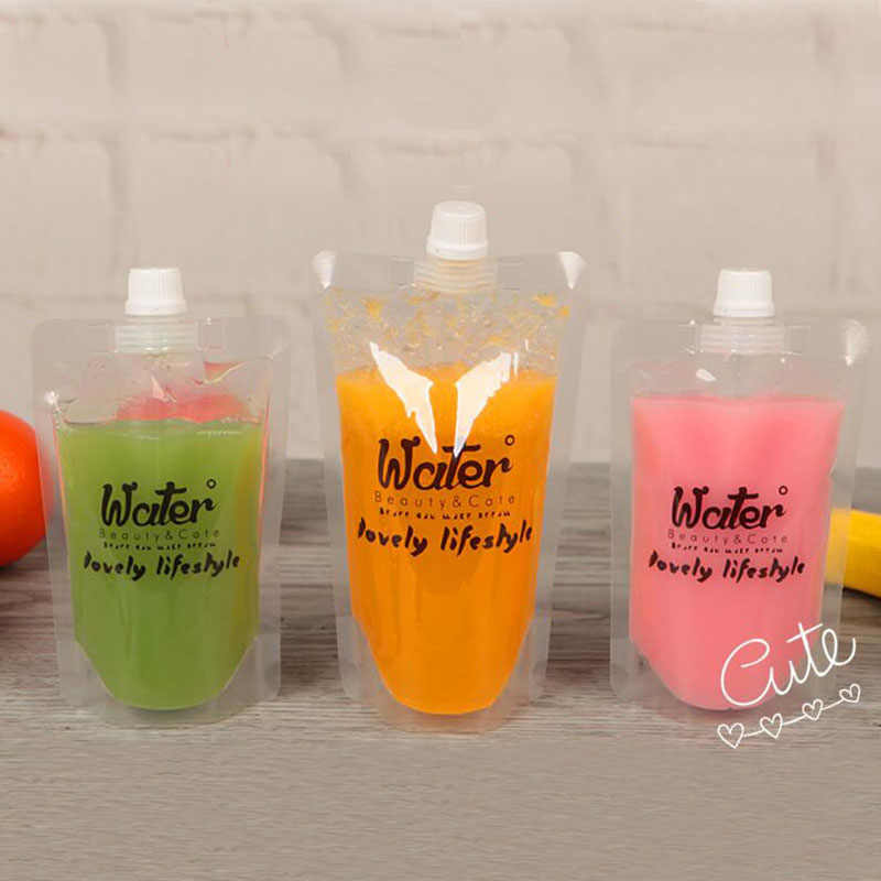 100 Pcs, Stand-up Plastic Drink Packaging Bag Spout Pouch for Beverage Liquid Juice Milk Coffee, Cute Design Water Bag