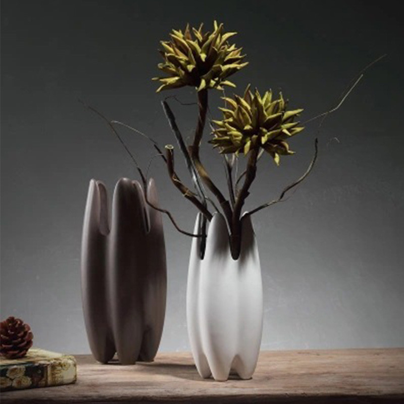 Modern Nordic Style Ceramic Decorative Flower Vases Creative Porch TV Cabinet Decorations Home Decor Vases Modern Ceramic Vases image