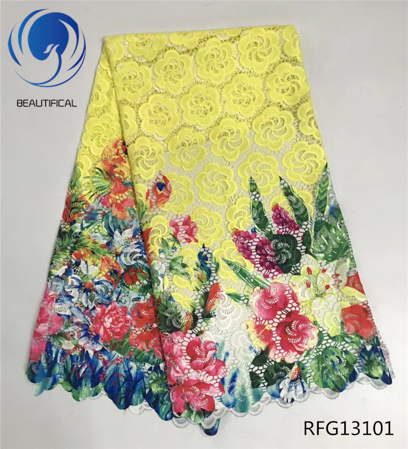 BEAUTIFICAL Multi color guipure lace fabric High quality Nigerian Printing gupure lace fabric for wedding dress