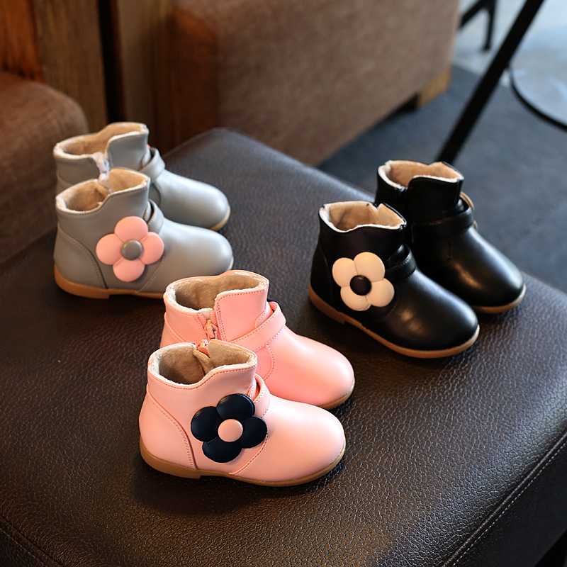 Winter Baby Girl Boots Fashion Princess Shoes Warm Cotton Leather Ankle Boot With Flower Children Plush Cute Snow Boots Kids