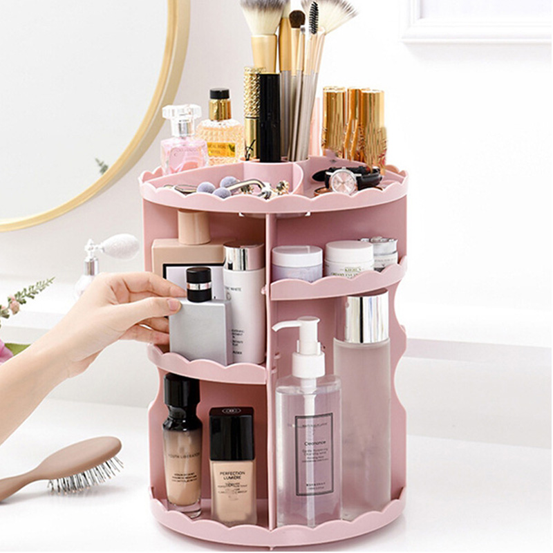 Cosmetics Rack Bathroom Organize Rack 360 Rotating Adjustable Makeup Organzier Shelf Storage Box for Cosmetics Brushes