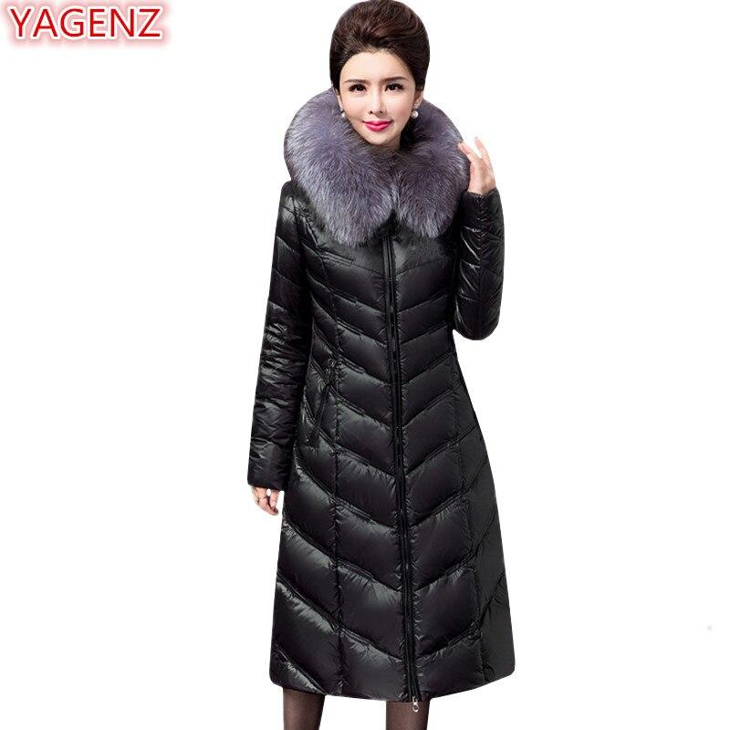 YAGENZ haute qualité hiver veste femmes Parkas manteau longue section femmes vêtements manteau grande taille noir fourrure col à capuche manteau 676