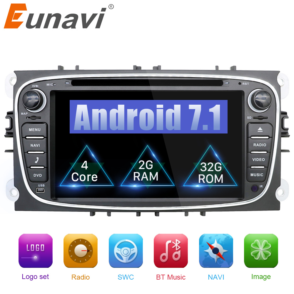 Eunavi 2 din Android 7.1 8.1 Quad Core Car DVD Player GPS Navi for Ford Focus Galaxy Audio Radio Stereo wifi Head Unit 1024*600 цена 2017