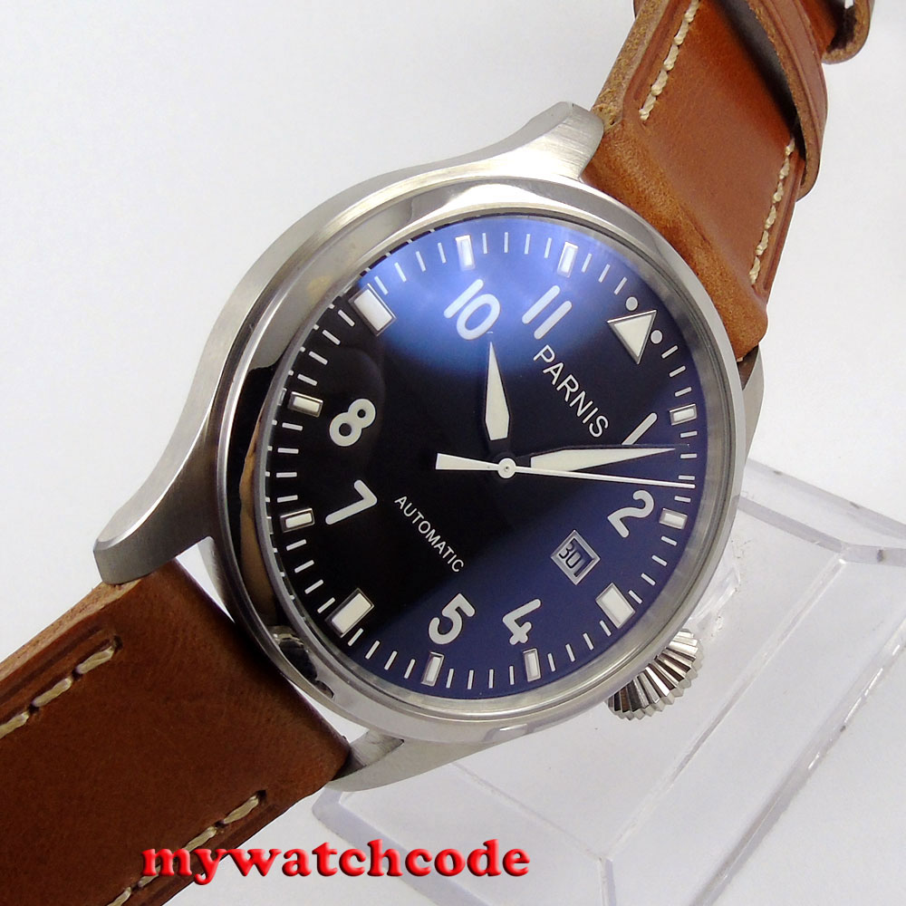 47mm parnis black dial date brown leather strap ST automatic mens watch P38