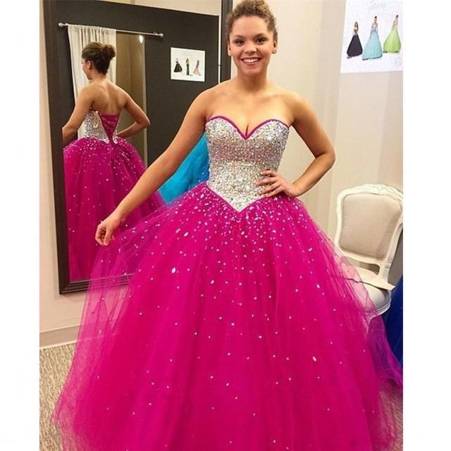 4745219ac Moldeado brillante de 15 Años Barato Fucsia Vestidos de Quinceañera 2017  Amor Atractivo Corest vestido de