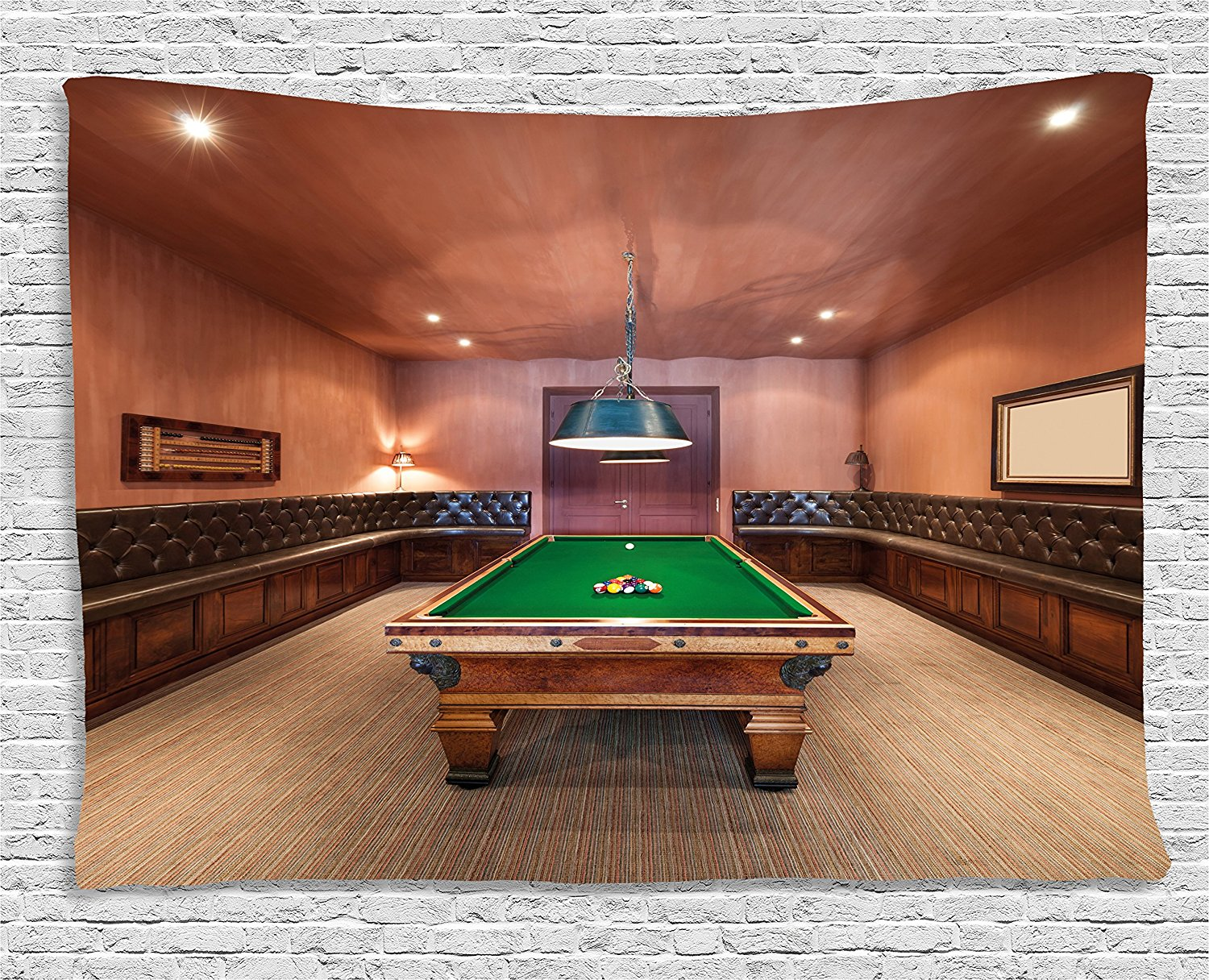 Modern Decor Tapestry, Entertainment Room in Mansion Pool Table Billiard Lifestyle Photo Print, Wall Hanging for Bedroom Dorm