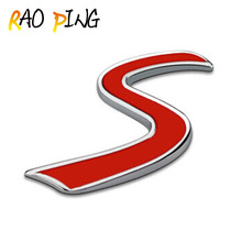 Raoping Chrome Metal Exterior Accessories Car Stickers Red Mini Cooper S Car Emblem Stickers Logo Decoration 3D Car Grille Car