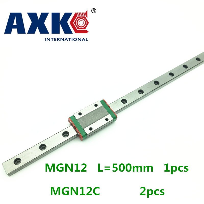 цена на Cnc Router Parts AXK Linear Rail 1pc 12mm Width 500mm Mgn12 Linear Guide Rail + 2pc Mgn Mgn12c or MGN12H Blocks Carriage Cnc