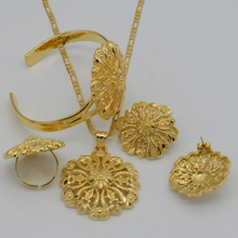 Ethiopian Jewelry set Pendant Necklace/Bangle/Earring/Ring/African Jewellry  Gold Plated Ethiopia Wedding Bride set