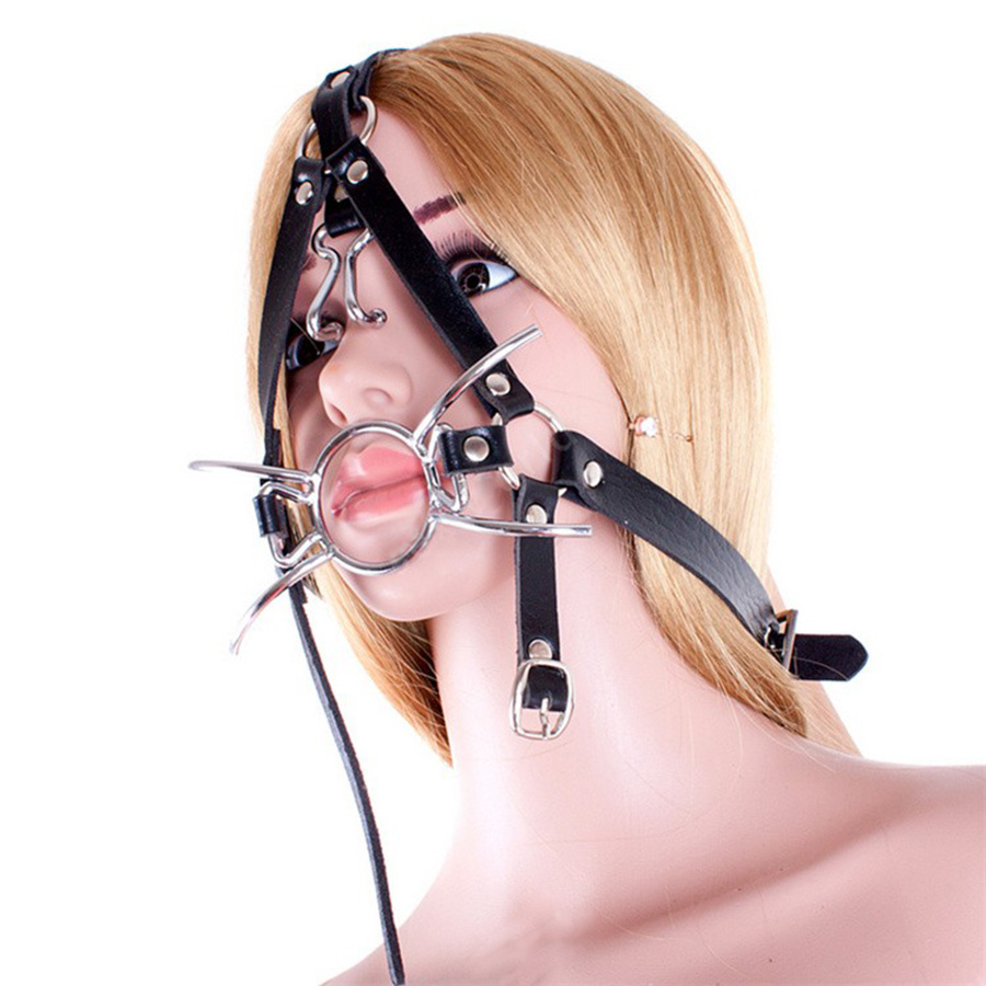 Leather Adjustable Belt Spider O <font><b>ring</b></font> Open Mouth <font><b>Gag</b></font>, Head Harness Muzzle With Nose Hook,Adult <font><b>Sex</b></font> Toys image