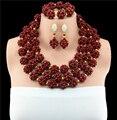 Moda de Boda Nigeriano Beads Africanos Joyería Conjunto Rojo Oscuro WB848 Grandes Bolas Chunky Joyería Traje de Las Mujeres Fijó El Envío Libre 10057