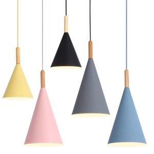 Image 3 - Lampe led suspendue en bois au design nordique minimaliste, coloré, luminaire décoratif dintérieur, idéal pour une salle à manger, un Bar ou une vitrine, E27