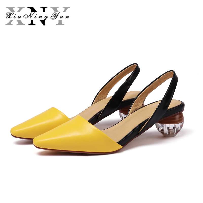 XiuNingYan Women Sandals Summer Shoes Genuine Leather Crystal Heel Back Strap Square High Heels Dress Shoes