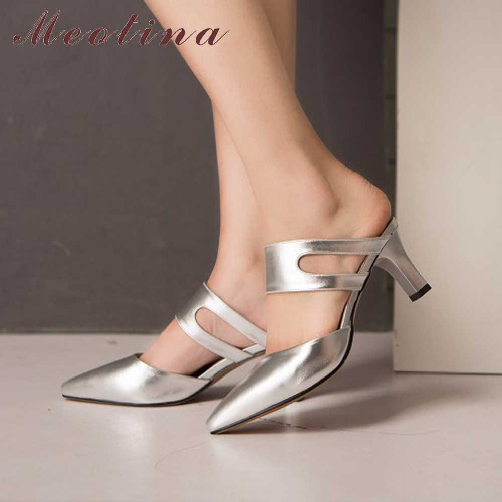 Meoitna katır ayakkabı yaz kadın slaytlar yüksek topuk terlik kesme bayanlar topuk slaytlar ayakkabı kadın beyaz gümüş kırmızı büyük boy 42 43