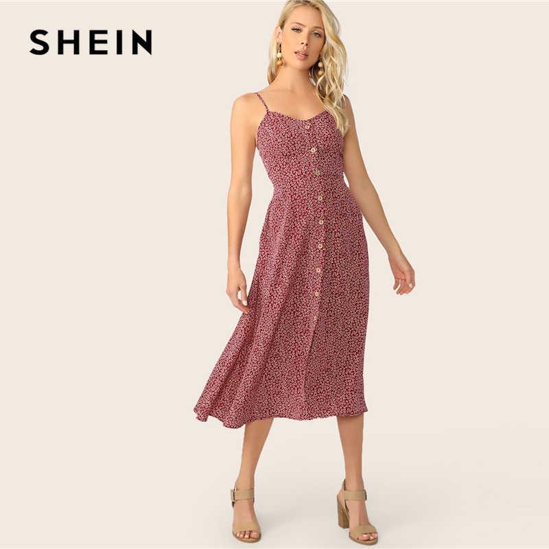 SHEIN с карманами и пуговицами сбоку; цветочный сарафан; шикарные женские летние платья без рукавов; бордовые платья-спагетти на бретельках