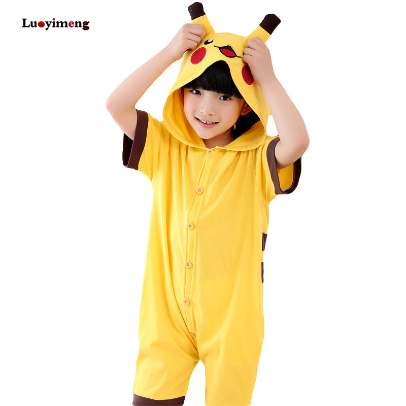 Children Pokemon Summer Cotton Boys Girls Pajamas Cartoon Animal Short-sleeved Onesie Kids Unicorn Sleepwear Sleepers Blanket