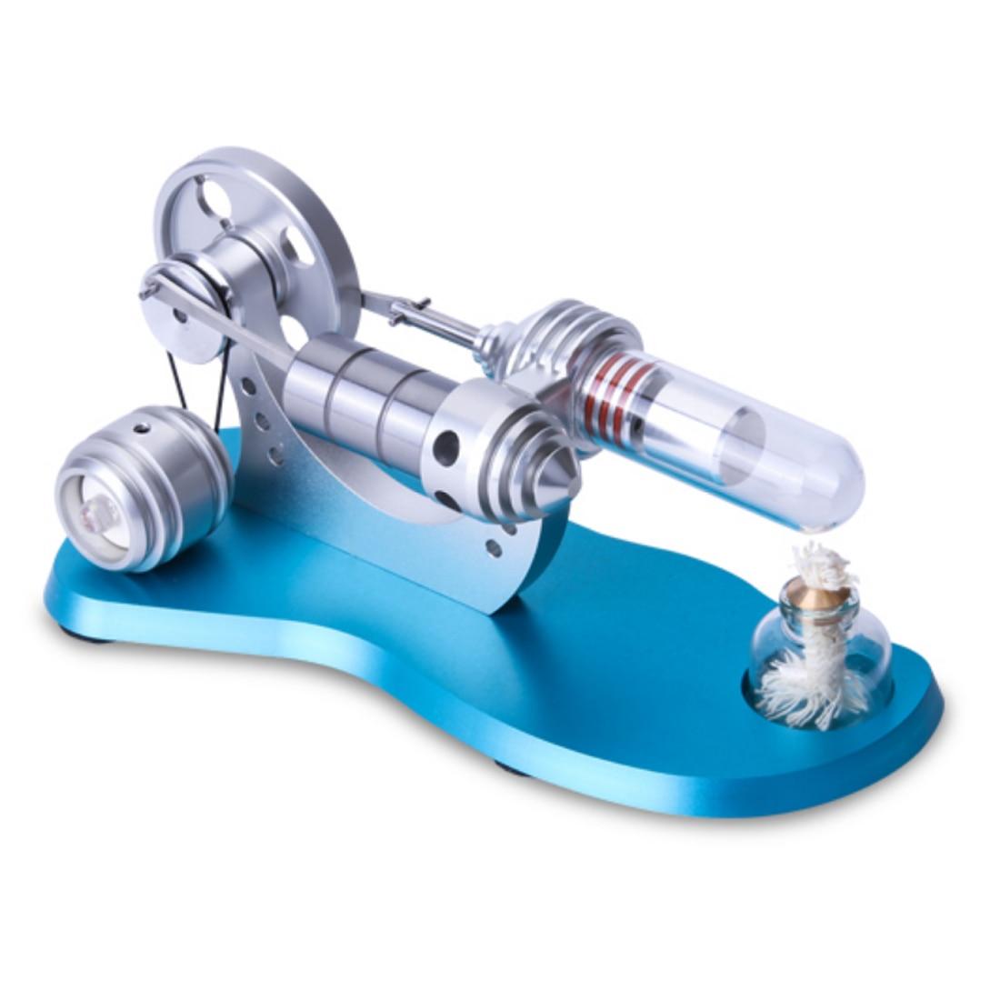 Blue Baseboard Metal Cylinder Bootable Stirling Engine Model Kit Micro External Combustion Engine Model - DIY Science Test Kit чайник электрический endever kr 350