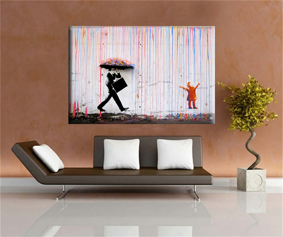 Banksy art colorful rain banksy canvas painting wall for Living room 12x16