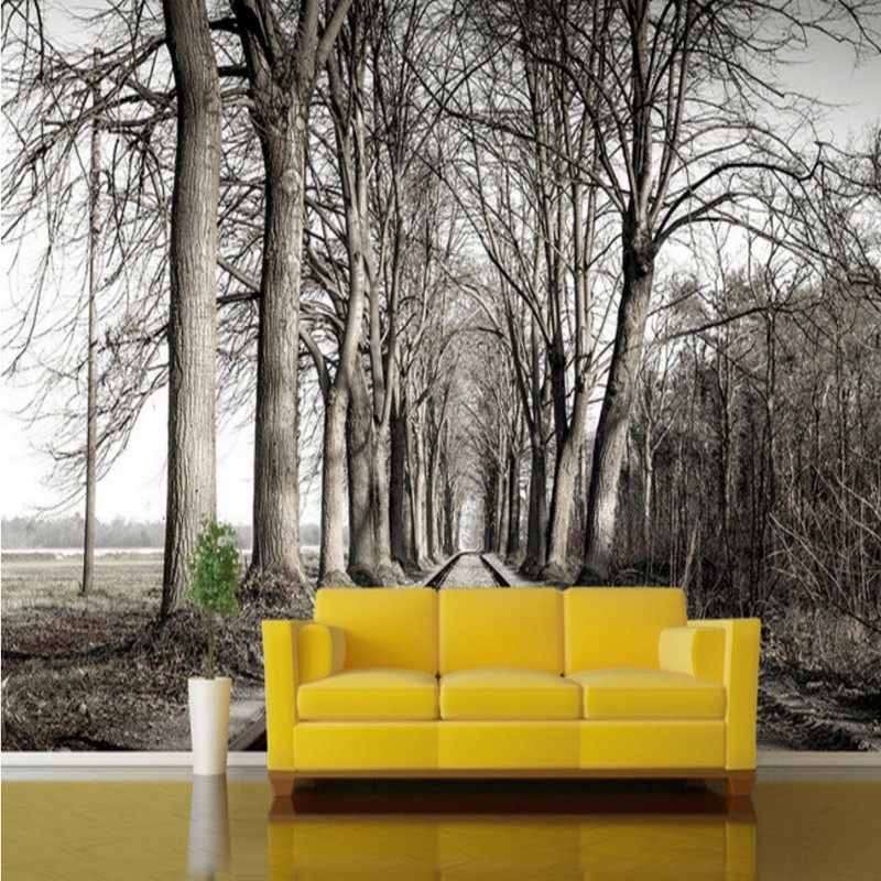 Custom 3d mural wallpaper Art Forest Railway Landscape Photography bedroom wallpaper mural bathroom living room home decoration