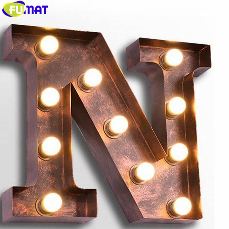 FUMAT Metal Letters N Wall Lamps Vintage Art Deco Lamp Cafe Bar Wall Lights American Industrial Wall Sconces for Living Room