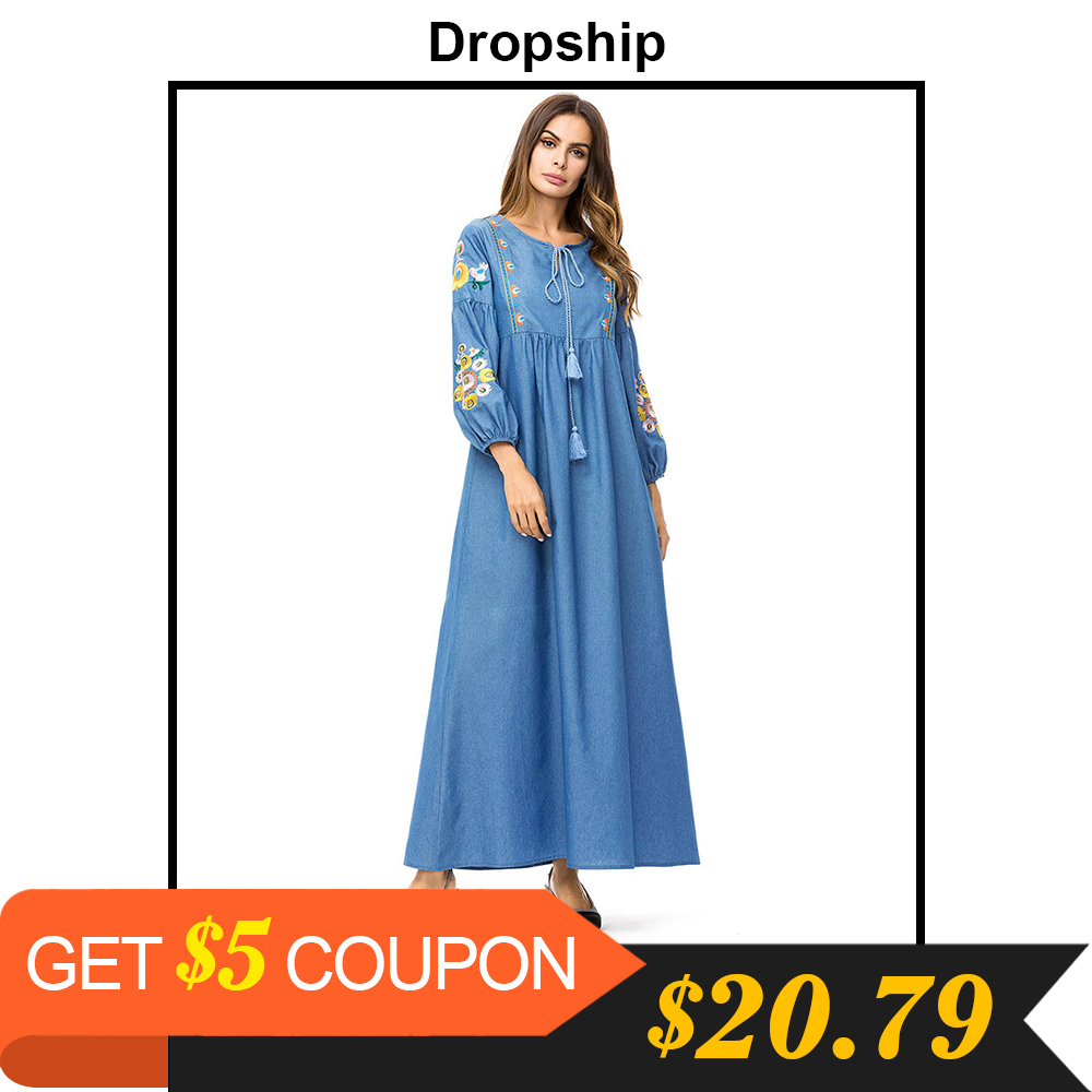 a4887f1fe9 Dropship Casual Wrist Sleeve Chic Floral Embroidery Denim Long Dress High  Waist Swing Fashion Patchwork Maxi