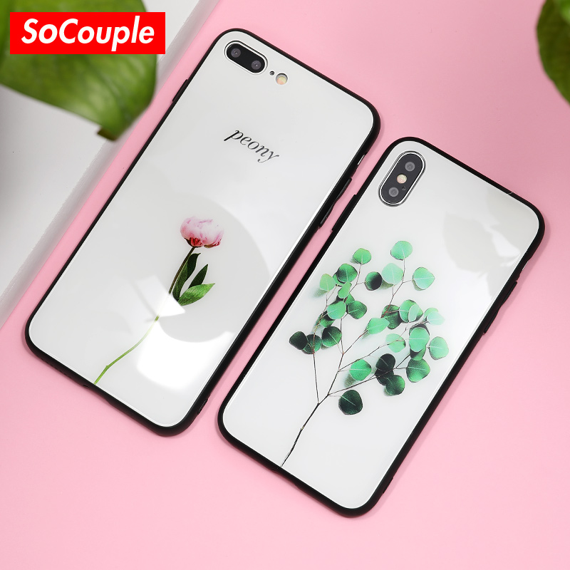 SoCouple Rose Flower Tempered Glass Phone Case For iPhone