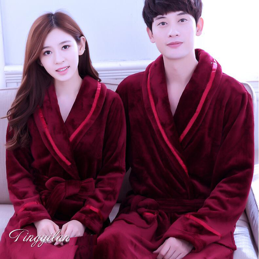 Fall Winter Hooded Couples Bathrobes Lovers Nightwear Home Clothes ...