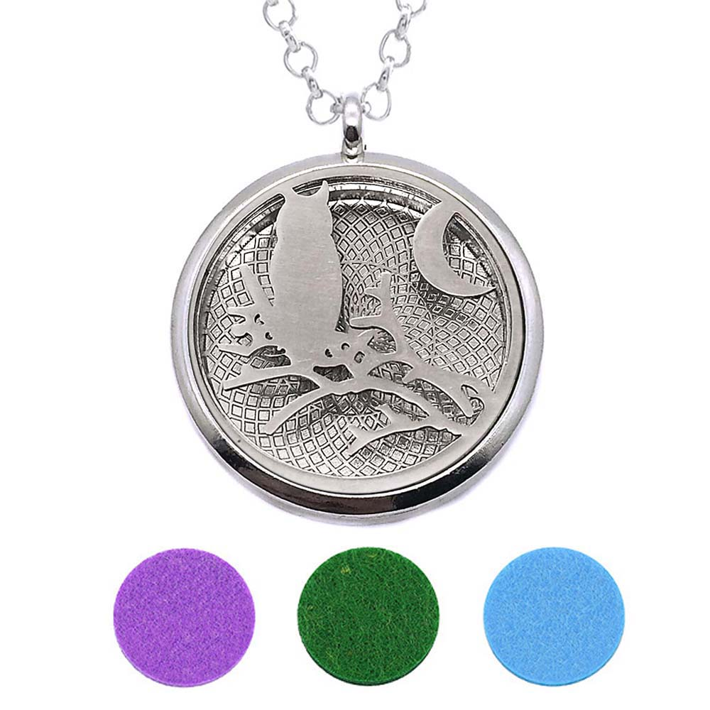 With Snake Chain 229 Owl New arrival 30mm Perfume Essential Oils Diffuser Locket Necklace With 3 Pads Women Teenagers Gift