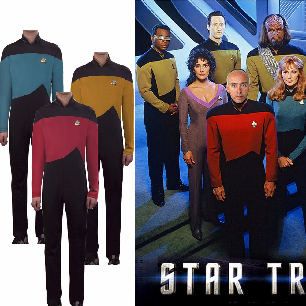 ST Jumpsuit Star The Next Generation Badge Trek Cosplay Costume Red Blue Yellow Halloween Adult Zentai Costumes(China)