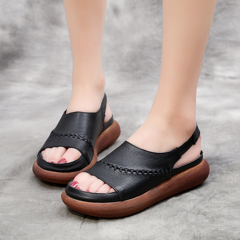 2018 Summer Women Shoes Retro Genuine Leather Sandal For Women 4 CM Heels Casual Cow Leather Sandals Women Wedges Shoes 81602 plus size women s sandals wedges platform leather sandal for women gladiator sandals summer shoes woman high heels casual shoes