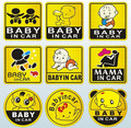 Car Stickers Baby in car Baby on Board Child in car Mama in car Lovely Decals Waterproof Eye-catching Reflective 11*11cm
