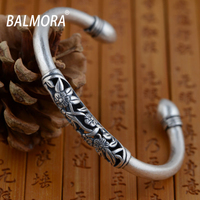 BALMORA 100 Real 990 Silver Jewelry Retro Flower Bracelets Bangles For Women Lover Anniversary Gift Free