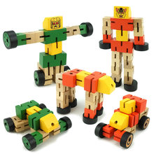 Wooden Transformation Robot Building Blocks Kids Toys for Children Educational Learning Intelligence Gifts WJ479(China)