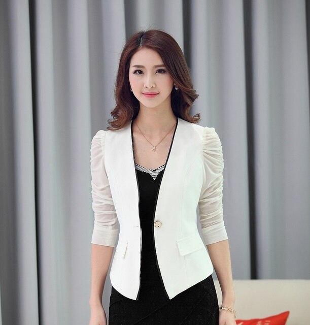 985f8c39690d Spring Summer Fashion White Blazer Women Outerwear Jackets Slim Black  Blazer Feminino Blaser Ladies Work Wear Uniforms