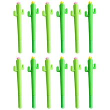 12 Pack Creative Kawaii Cactus Rollerball Pens 0.5mm Black Ink School Office Gel Pen Random Color все цены
