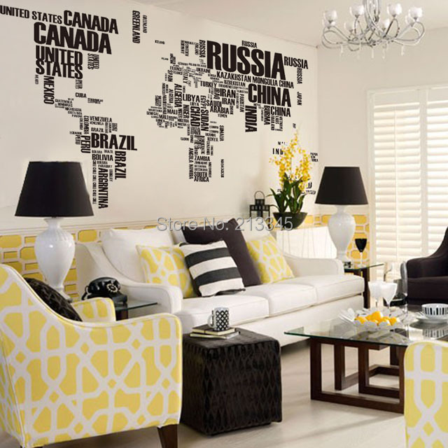 Fundecor Diy Wall Stickers Home Decor Art Decal Black English Characters World Map Mural