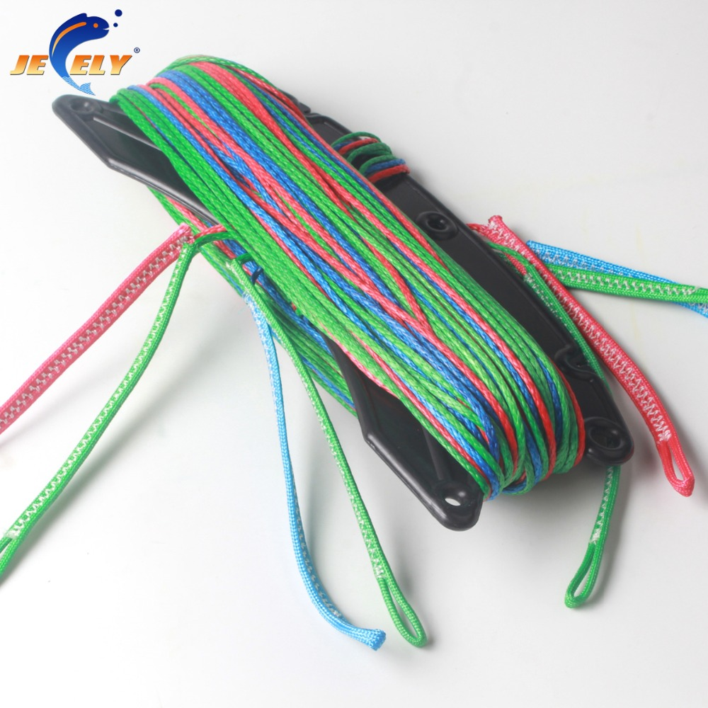 Jeely 100% uhmwpe fiber authorized 4line 20m 360kg kitesurfing line set 100% uhmwpe fiber 4 line 1red in 400kg 1blue in 400kg 2grey in 400kg x 25m kitesufing line set end looped